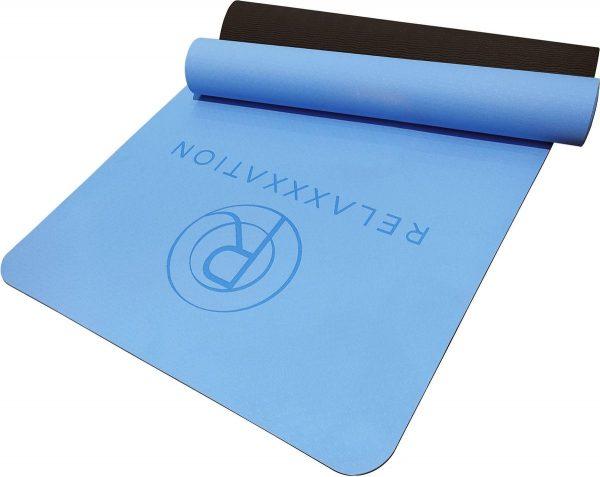 Yoga mat Relaxxxation - Zwart/Blauw - Anti slip - Extra comfort - Afneembaar - 6mm