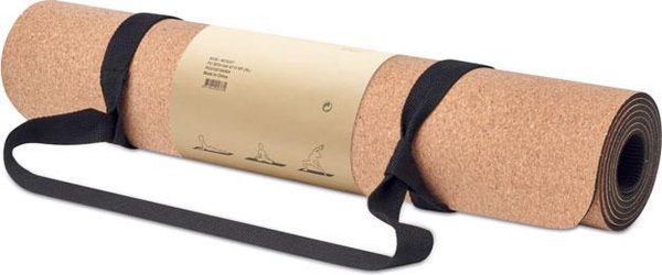 Yogamat gemaakt van kurk - Dikte 0,4 mm - Zachte yoga mat - Incl. katoenen draagriem
