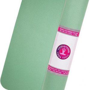 Yogi & Yogini Yoga mat met yoga gids - Yogamat met draagkoord - Ecologisch materiaal - Mintgroen